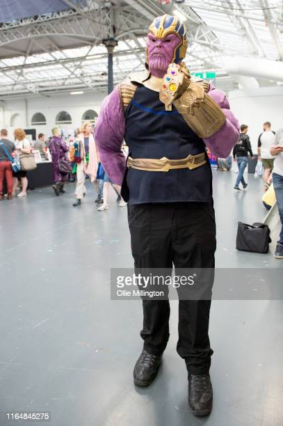 Thanos cosplayer in character seen during London Film and Comic Con 2019 at Olympia London on July 27 2019 in London England