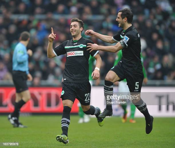 Thanos Petsos of Fuerth celebrates scoring his goal with Mergim Mavraj during the Bundesliga match between SV Werder Bremen and SpVgg Greuther Fuerth...