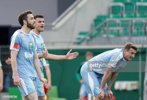 Thanos Petsos of WSG Tirol, Raffael Behounek of WSG Tirol gestures during the tipico Bundesliga match between SK Rapid Wien and WSG Tirol at Allianz...