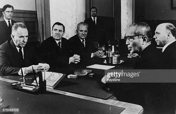 Thant , Secretary General of the UN, at a meeting with Soviet statesmen Alexei Kosygin and Andrei Gromyko at a meeting in the Kremlin, Moscow, circa...
