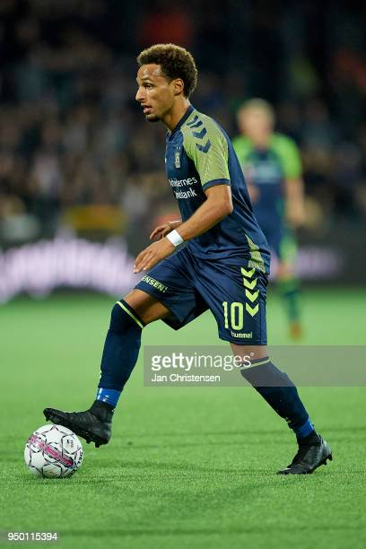 tHany Mukhtar of Brondby IF controls the ball during he Danish Alka Superliga match between FC Nordsjalland and Brondby IF at Right to Dream Park on...