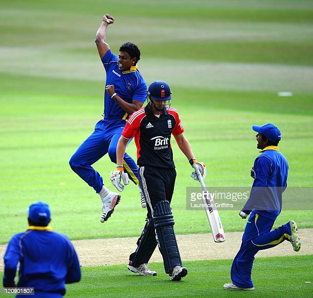 Tharanga Lakshitha of Sri Lanka A celebrates the wicket of Alex Hales of England Lions during the One Day International match between England Lions...