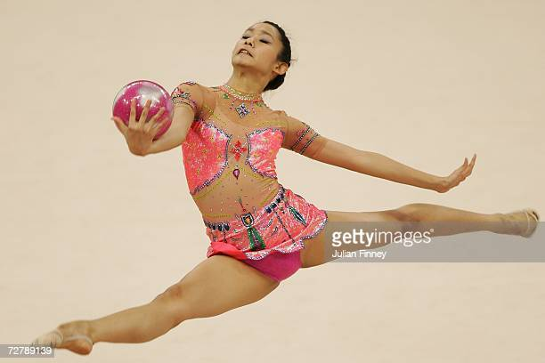 Tharatip Sridee of Thailand competes in the Rhythmic Gymnastics Individual AllAround Final during the 15th Asian Games Doha 2006 at Aspire Hall on...