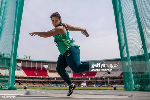 Tharina van der Walt of South Africa competes in the girls discus throw qualification during the IAAF U18 World Championships at Moi International...