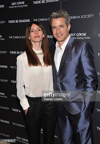 Tharita Catulle and actor Dermot Mulroney attend The Cinema Society Grey Goose screening of There Be Dragons at the Tribeca Grand Hotel on May 5 2011...