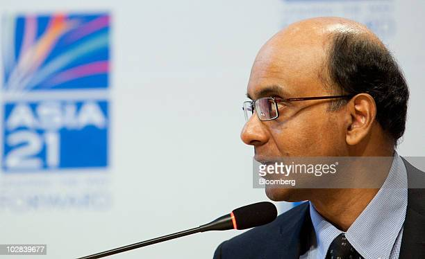 Tharman Shanmugaratnam, Singapore's finance minister, speaks at a conference hosted by South Korea's government and the International Monetary Fund...