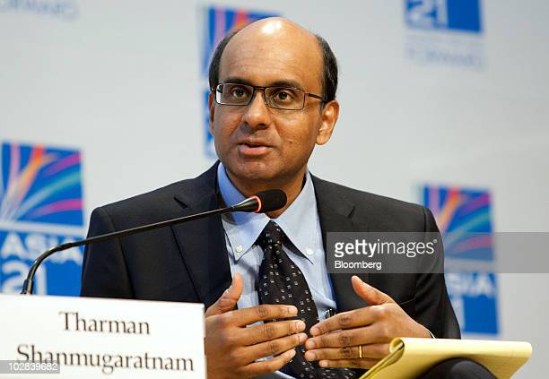 Tharman Shanmugaratnam Singapore's finance minister speaks at a conference hosted by South Korea's government and the International Monetary Fund in...