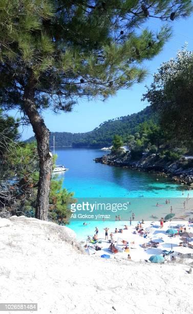 thasos, greece 2017. marble beach - thasos stock photos and pictures