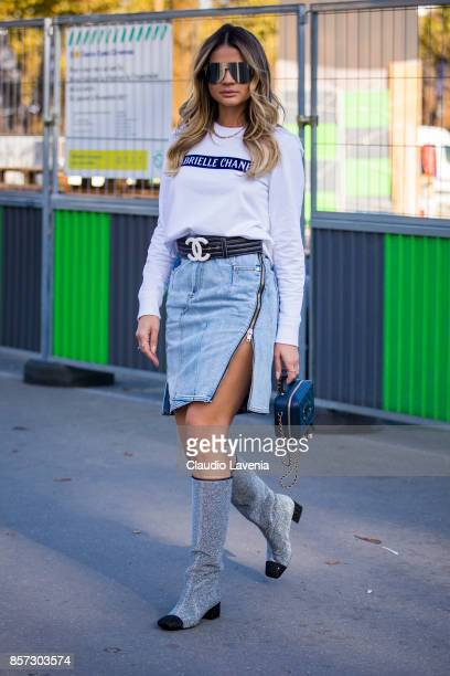 Thassia Naves is seen before the Chanel show during Paris Fashion Week Womenswear SS18 on October 3 2017 in Paris France