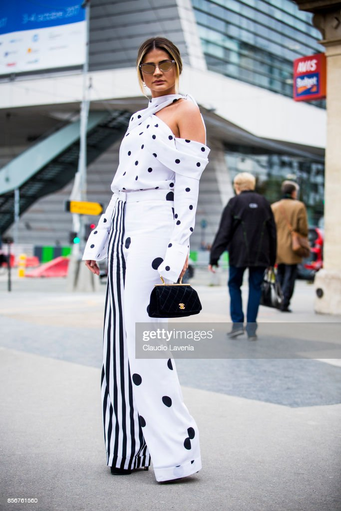 Thassia Naves is seen before the Giambattista Valli show during Paris Fashion Week Womenswear SS18 on October 2, 2017 in Paris, France.