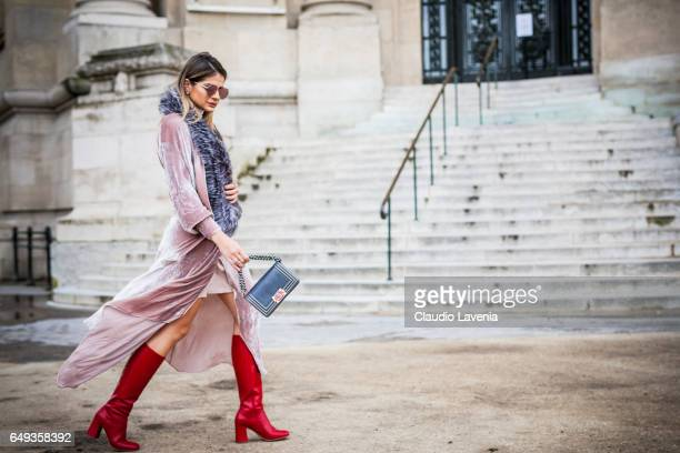 Thassia Naves is seen in the streets of Paris before the Chanel show during Paris Fashion Week Womenswear Fall/Winter 2017/2018 on March 7 2017 in...