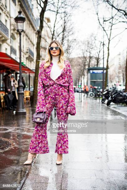 Thassia Naves is seen in the streets of Paris before the Giambattista Valli show during Paris Fashion Week Womenswear Fall/Winter 2017/2018 on March...