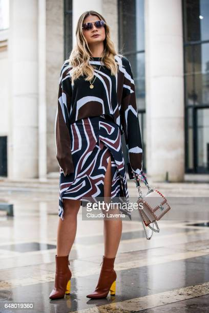 Thassia Naves is seen in the streets of Paris before the Mugler show during Paris Fashion Week Womenswear Fall/Winter 2017/2018 on March 4 2017 in...