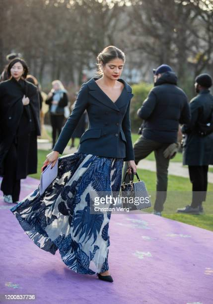 Thassia Naves is seen outside Dior during Paris Fashion Week - Haute Couture Spring/Summer 2020 on January 20, 2020 in Paris, France.