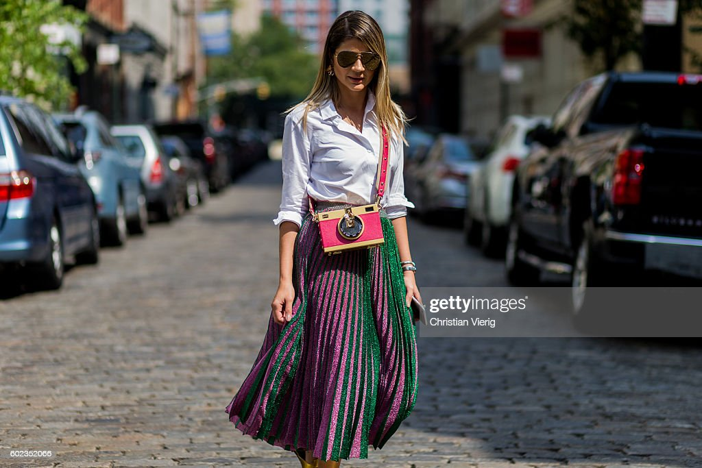 Thassia Naves wearing a Dolce & Gabbana bag and Gig Couture skirt outside Rebecca Minkoff on September 10, 2016 in New York City.
