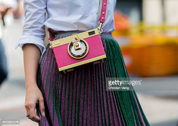 Thassia Naves wearing a Dolce Gabbana bag and Gig Couture skirt outside Rebecca Minkoff on September 10 2016 in New York City