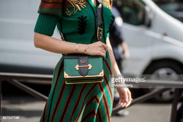 Thassia Naves wearing Prada bag seen outside Miu Miu during Paris Fashion Week Spring/Summer 2018 on October 3 2017 in Paris France
