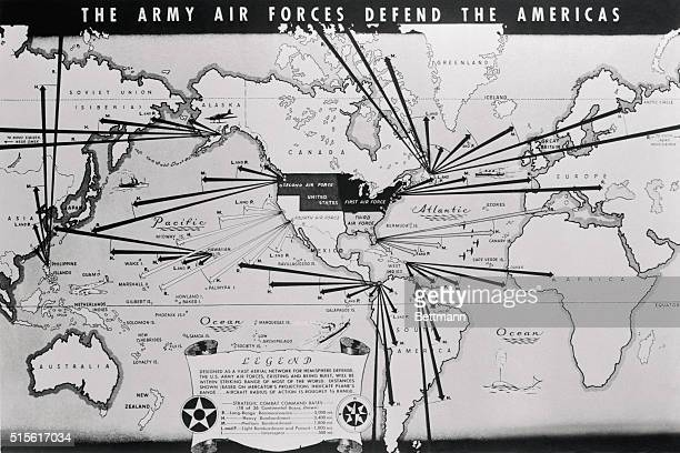 That American air power can strike effectively at Japan and adequately defend the entire Western Hemisphere is evidenced in this map specially...