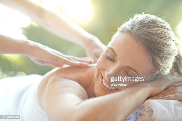 that feels amazing... - massage stock photos and pictures