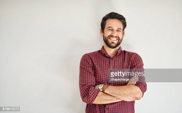 that style really suits him - checked shirt stock photos and pictures