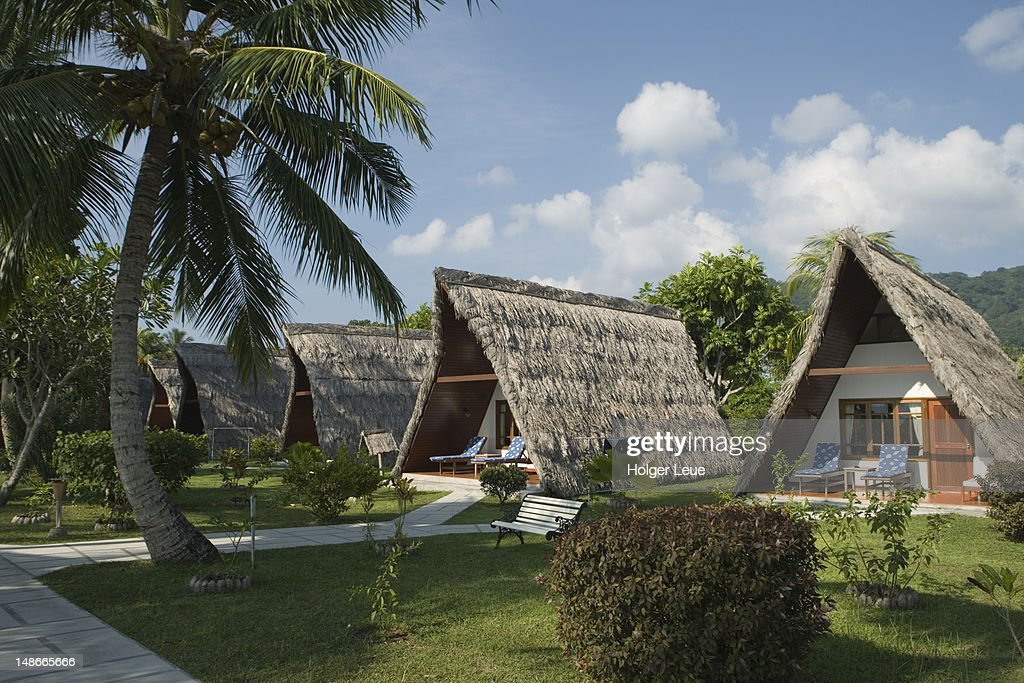 Thatched Aframe Chalets At La Digue Island Lodge Stock Photo   Getty ...