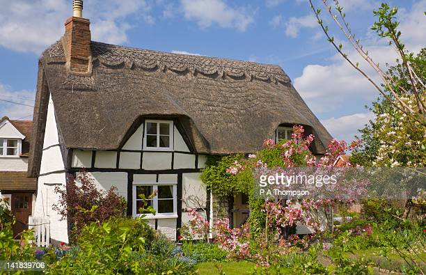 thatched cottage, eckington, worcestershire, england - grounds stock pictures, royalty-free photos & images