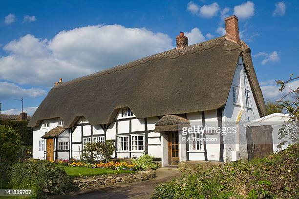 thatched cottages, eckington, worcestershire, england - worcestershire stock pictures, royalty-free photos & images