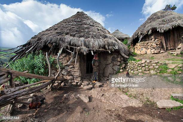 Thatched huts on a village in Simien Mountains