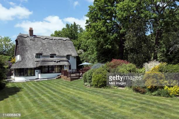 thatched roof cottage - landhaus stock-fotos und bilder