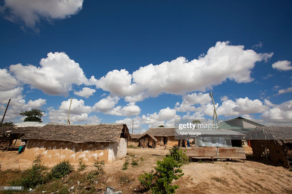 Thatched roof huts in Mombasa : Stock Photo