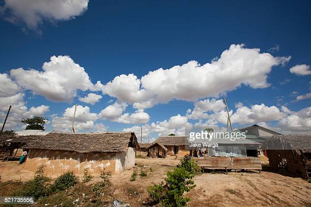 thatched roof huts in mombasa - jake warga stock photos and pictures