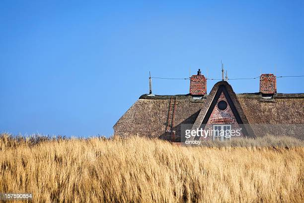 thatched  roof ( reetdach ) - north sea stock pictures, royalty-free photos & images