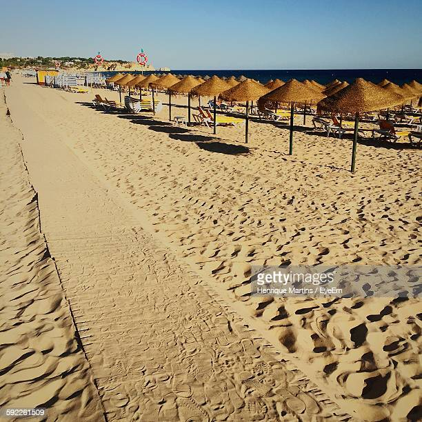 thatched roofs at beach on sunny day - alvor stock pictures, royalty-free photos & images