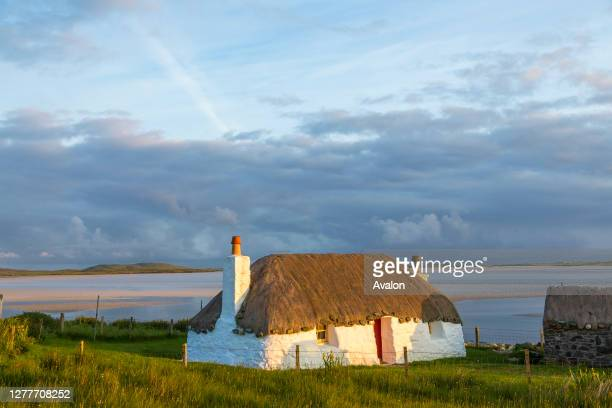 Thatched traditional cottage. North Uist. Outer Hebrides. Scotland.