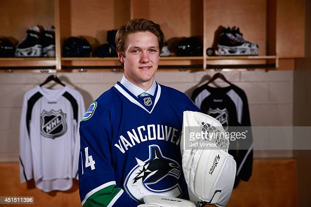 Thatcher Demko 36th overall pick of the Vancouver Canucks poses for a portrait during the 2014 NHL Entry Draft at Wells Fargo Center on June 28 2014...