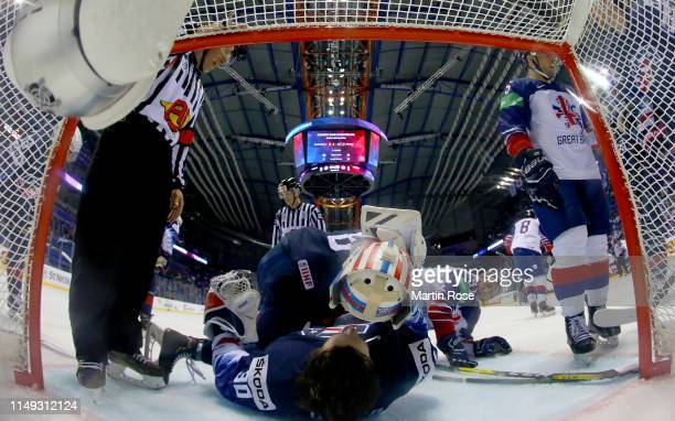 Thatcher Demko, goaltender of United States takes off his mask during the 2019 IIHF Ice Hockey World Championship Slovakia group A game between...