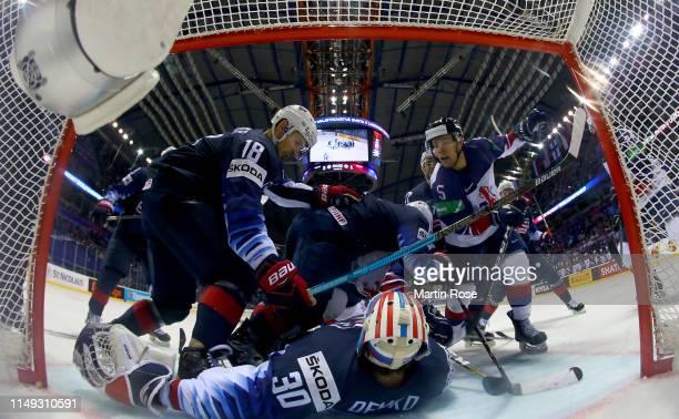 Thatcher Demko, goaltender of United States tends net against Ben Davies Great Britain during the 2019 IIHF Ice Hockey World Championship Slovakia...