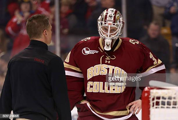 Thatcher Demko of Boston College reacts after an injury during the third period of the Beanpot Tournament championship game against Boston University...
