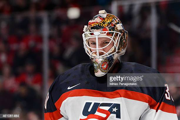 Thatcher Demko of Team United States looks on as he skates in a preliminary round game at the 2015 IIHF World Junior Hockey Championships against...
