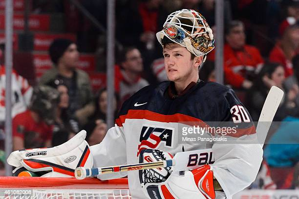 Thatcher Demko of Team United States looks on during stoppage in a preliminary round game during the 2015 IIHF World Junior Hockey Championships...