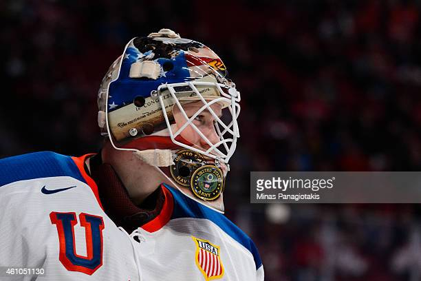 Thatcher Demko of Team United States looks on during the 2015 IIHF World Junior Hockey Championship game against Team Slovakia at the Bell Centre on...