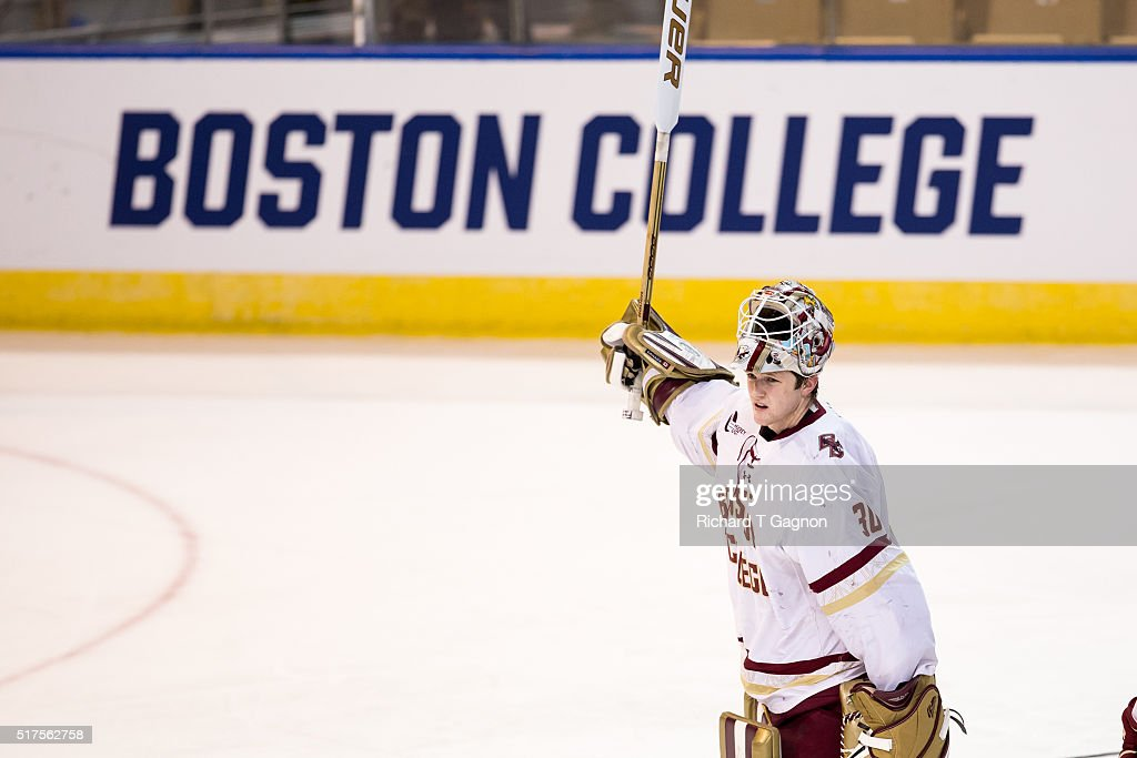 Thatcher Demko #30 of the Boston College Eagles celebrates a 4-1 victory with his teammates after a game against the Harvard Crimson during game two of the NCAA Division I Men's Ice Hockey Northeast Regional Championship Semifinals at the DCU Center on March 25, 2016 in Worcester, Massachusetts.