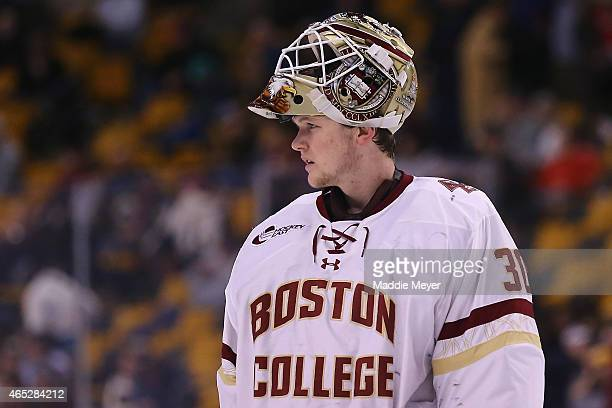 Thatcher Demko of the Boston College Eagles looks on during the game against the Harvard Crimson at TD Garden on February 23 2015 in Boston...