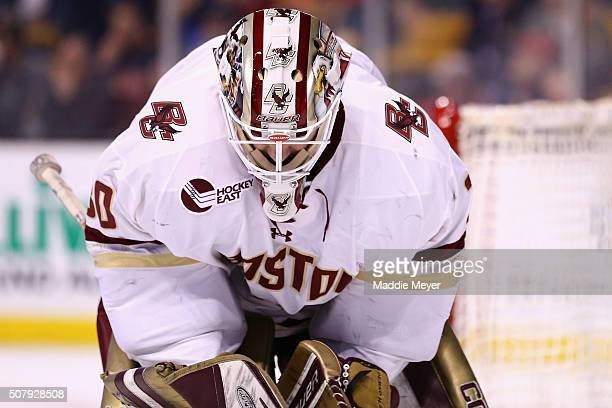 Thatcher Demko of the Boston College Eagles looks on during the second period against the Harvard Crimson at TD Garden on February 1 2016 in Boston...