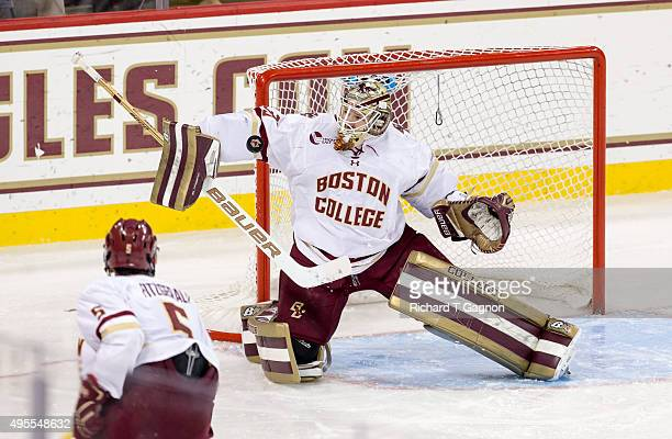 Thatcher Demko of the Boston College Eagles makes a save against the Massachusetts Minutemen during NCAA hockey at Kelley Rink on November 3 2015 in...