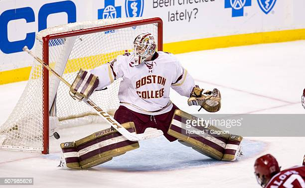 Thatcher Demko of the Boston College Eagles makes a save against the Harvard Crimson during NCAA hockey in the semifinals of the annual Beanpot...