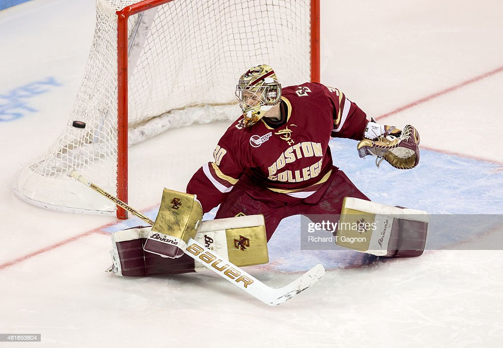 Thatcher Demko #30 of the Boston College Eagles makes a save during NCAA hockey at Agganis Arena against the Boston University Terriers on January 16, 2015 in Boston, Massachusetts.