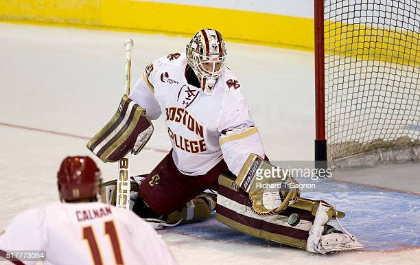 Thatcher Demko of the Boston College Eagles makes a save during warm ups be fore a game against the Minnesota Duluth Bulldogs during the NCAA...