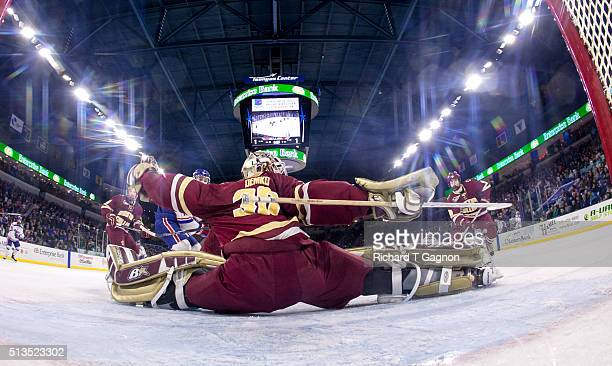 Thatcher Demko of the Boston College Eagles makes a split save during NCAA hockey against the Massachusetts Lowell River Hawks at the Tsongas Center...