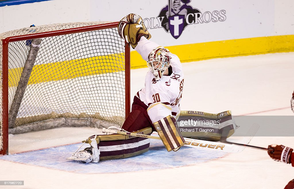 Thatcher Demko #30 of the Boston College Eagles makes a split save against the Harvard Crimson during game two of the NCAA Division I Men's Ice Hockey Northeast Regional Championship Semifinals at the DCU Center on March 25, 2016 in Worcester, Massachusetts. The Eagles won 4-1.